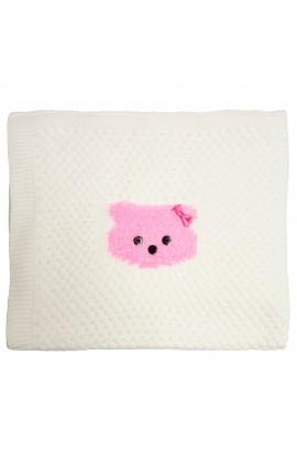Paturica, Pled pentru bebelusi,95 x 104 cm, Baby Nino, alb cu ursulet roz