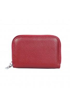 Portofel dama, port card, piele naturala, rosu,11 x 7.5 cm  - PR115