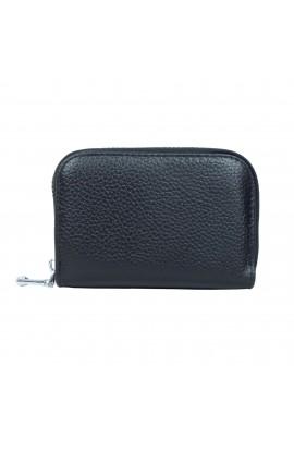 Portofel unisex, port card, piele naturala, negru,11 x 7.5 cm  - PR116