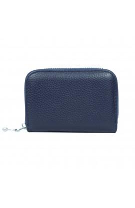 Portofel unisex, port card, piele naturala, bleumarin,11 x 7.5 cm  - PR117