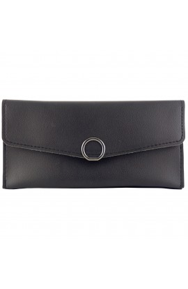 Portofel dama, piele ecologica, negru, 19 x 9.5 x 1 cm - PR131