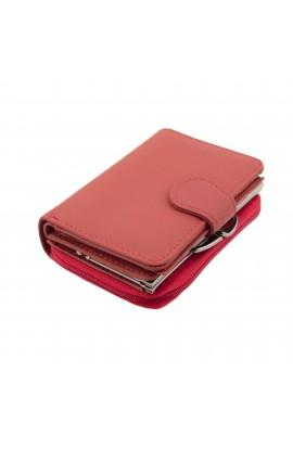 Portofel dama, Rosu din piele naturala, TITA, 9 x 12.5 x 3.5 cm - PR194