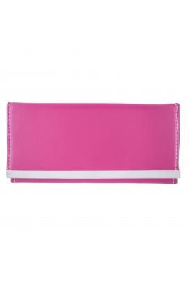 Portofel dama, slim, roz din piele ecologica 18 x 9 x 1 cm - PR19