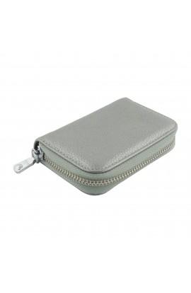 Portofel unisex, Buticcochet, port card, piele naturala, Argintiu,11 x 7.5 cm  - PR211