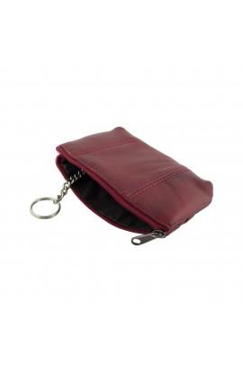 Portofel unisex, Buticcochet, pentru monezi si chei,  Rosu inchis, din piele naturala, 12 x 8 x 1 cm - PR215