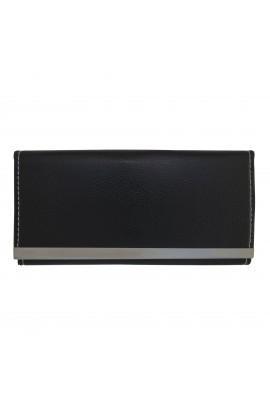 Portofel dama,  slim, negru din piele ecologica 18 x 9 x 1 cm - PR24