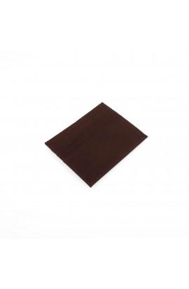 Port card unisex, din piele naturala, 10 x 8 cm, maro inchis - PR281