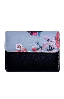 Portofel dama, piele ecologica, negru cu floricele - PR35