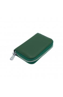 Portofel unisex, port card, piele naturala, Verde,11 x 7.5 cm  - PR377