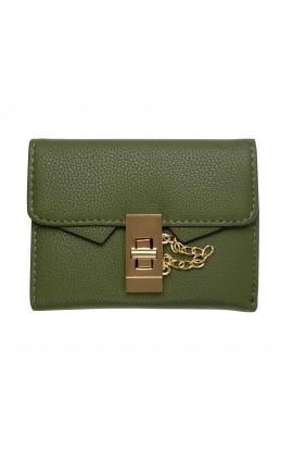 Portofel dama, piele ecologica, verde cu inchizatoare metalica - PR38