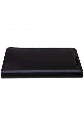 Portofel dama, negru lacuit, 20x10x3 cm - PR74