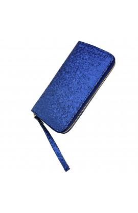 Portofel dama, bleumarin cu sclipici, 19x10x2 cm - PR85