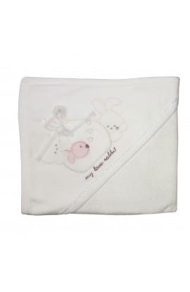 Prosop bebelusi cu capison, 91 x 79 cm, 100% bumbac,  alb cu ursuleti si pestisor