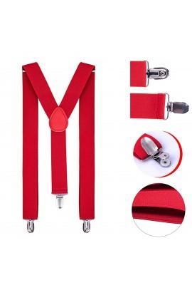 Bretele rosii, adulti unisex,cu inchizatori metalice, 35 mm, BUROM
