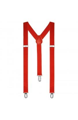 Bretele slim unisex, rosu, cu inchizatori metalice, 25 mm, BR03