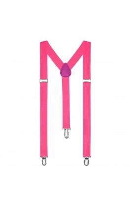 Bretele slim unisex, roz cu inchizatori metalice, 25 mm , BR06