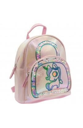 Rucsac pentru copii, din piele ecologica, Roz cu paiete, model unicorn - RUC202
