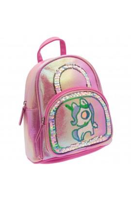 Rucsac pentru copii, din piele ecologica, Roz bonbon cu paiete, model unicorn - RUC203