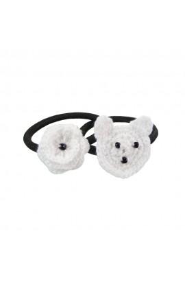 Set elastice de par negre , fetite, Buticcochet, crosetate manual, cu Urs si Floare Alba