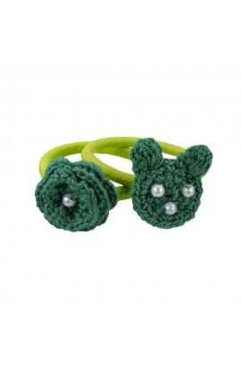 Set elastice de par, fetite, Buticcochet, crosetate manual, cu Urs si Floare Verde