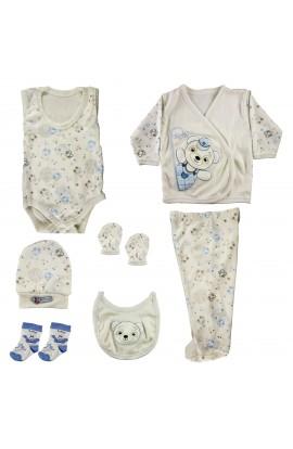 Set pentru bebelusi,  0-3 luni, 7 piese, cu ursulet albastru, Ahmetcanbebe
