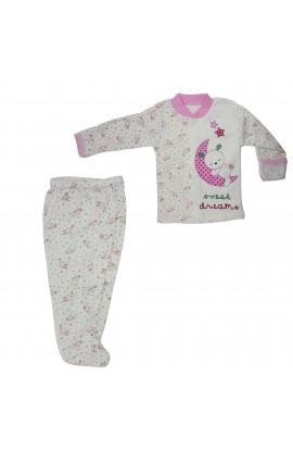 Costum bebelusi 0-3 luni, Bluza si pantaloni, Beyzi bebe, ivoar cu iepurasi roz