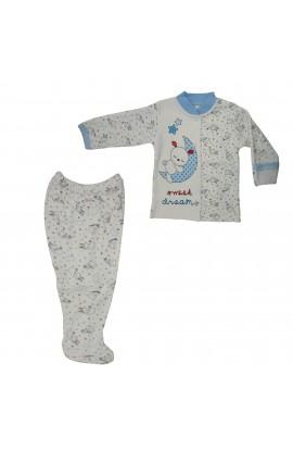 Costum bebelusi 0-3 luni, Bluza si pantaloni, Beyzi bebe, ivoar cu iepurasi albastru