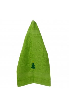 Prosop brodat,Craciun, verde cu bradut, 30x50 cm