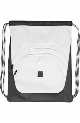 Rucsac, Gym bag, Alb cu Negru, 100% poliester, Snur textil, Urban Classics