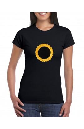 Tricou cu maneca scurta, Dama, Negru, Model crosetat Floarea soarelui