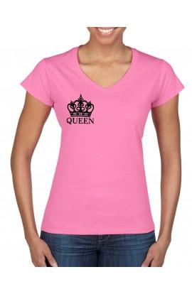 Tricou brodat cu maneca scurta, Dama, Roz, Queen, TRRO02