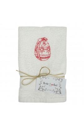 Prosop brodat, Alb, 30x50 cm, 100% bumbac, Buticcochet, cu motive de Paste, Ou rosu - PROS202