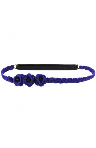 Bentita de par elastica, dama, Buticcochet, crosetata manual, cu Flori, Albastru, BTBL05
