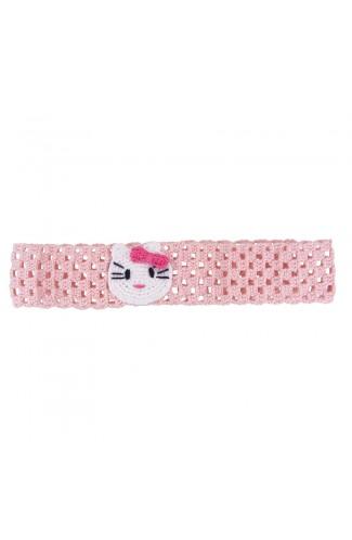 Bentita de par, fetite, Buticcochet, crosetata manual, Roz pal cu pisicuta