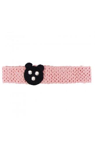 Bentita de par, fetite, Buticcochet, crosetata manual, Roz pal cu urs negru