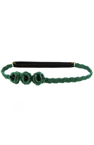 Bentita de par elastica, dama, Buticcochet, crosetata manual, cu Flori, Verde