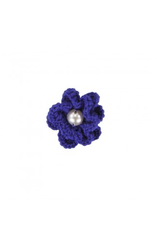 Brosa floricica, fetite, Buticcochet, crosetata manual, Albastra cu perla alba