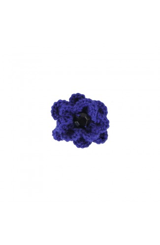 Brosa floricica, fetite, Buticcochet, crosetata manual, Albastra cu piatra neagra, BCABNG15