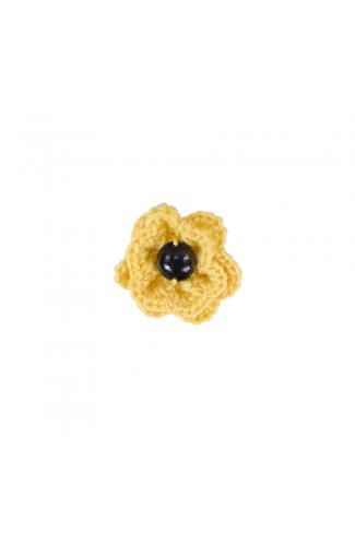 Brosa floricica, fetite, Buticcochet, crosetata manual, Galbena cu perla neagra, BCGBNG08
