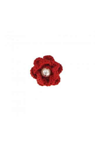 Brosa floricica, fetite, Buticcochet, crosetata manual, Rosie cu perla alba, BCRSAL01