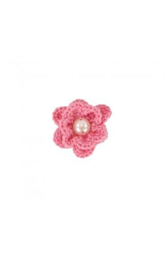 Brosa floricica, fetite, Buticcochet, crosetata manual, Roz cu perla alba