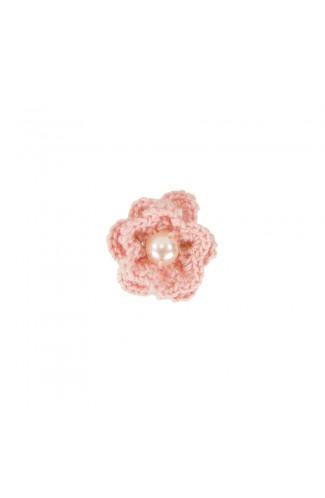 Brosa floricica, fetite, Buticcochet, crosetata manual, Roz pal cu perla alba