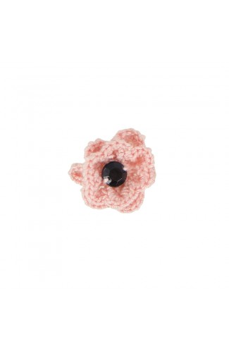 Brosa floricica, fetite, Buticcochet, crosetata manual, Roz pal cu piatra neagra