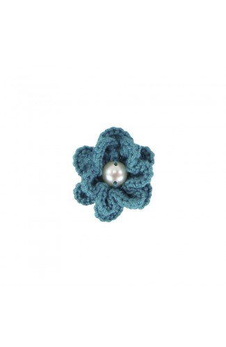 Brosa floricica, fetite, Buticcochet, crosetata manual, Verde cu perla alba