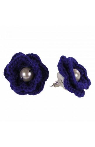 Cercei Floare, dama, Buticcochet, crosetati manual, Albastru, cu Perla Alba