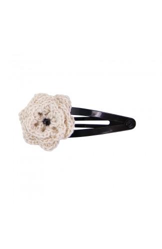 Clama de par, fetite, Buticcochet, crosetata manual, Floare Crem, cu Biluta Neagra, CMBJAL10