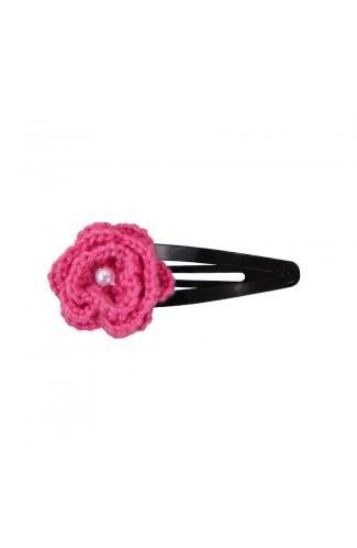 Clama de par, fetite, Buticcochet, crosetata manual, Floare Roz Bonbon, cu Biluta Alba, CMPKAL08