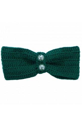 Clama de par, dama, Buticcochet, crosetata manual, Funda Verde, cu Perle Albe, CPVRAL05