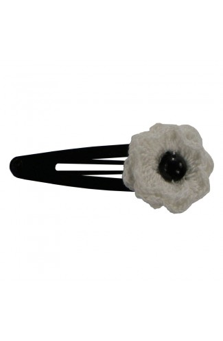 Clama de par, dama, Buticcochet, crosetata manual, Floare Alb, cu Perla Alba