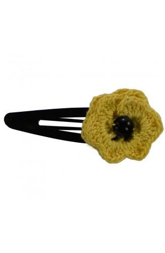 Clama de par, dama, Buticcochet, crosetata manual, Floare Galben, cu Perla Neagra